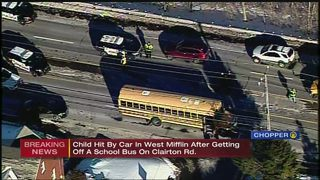 9th grade student hit by vehicle after getting off school bus