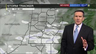 Scattered snow showers Wednesday (1/24/18)