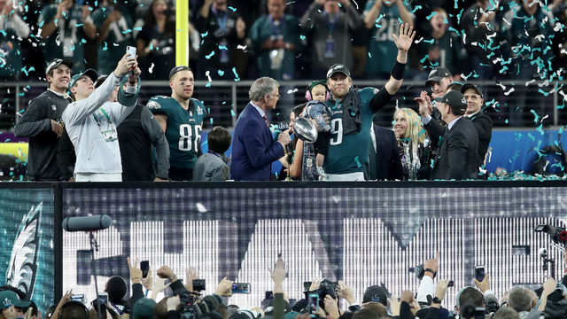 Dan Patrick interviews Nick Foles  9 of the Philadelphia Eagles as he is  named Super Bowl MVP after they defeated the New England Patriots 41-33 in  Super ... 47f126322
