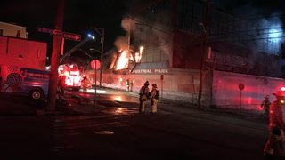 RAW VIDEO: Warehouse in flames on Bingham Street