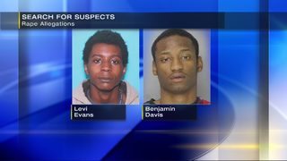 Police searching for 2 men charged with rape of unconscious victim