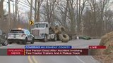 1 person dead after accident involving 2 tractor-trailers and 2 pickup trucks