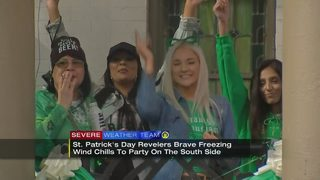 Public safety officials monitoring revelers on cold St. Patrick