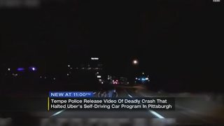 Dashcam video released showing deadly crash involving self-driving Uber