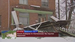 Snow causes front porch of home to collapse