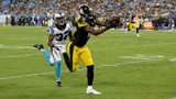 Justin Hunter #11 of the Pittsburgh Steelers makes a touchdown catch against Cole Luke #32 of the Carolina Panthers during their game at Bank of America Stadium on August 31, 2017 in Charlotte, North Carolina. (Photo by Streeter Lecka/Getty Images)