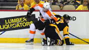 Ivan Provorov gets tangled with Bryan Rust in Game Two of the Eastern Conference First Round during the 2018 NHL Stanley Cup Playoffs at PPG PAINTS Arena on April 13, 2018 in Pittsburgh, Pennsylvania. (Photo by Matt Kincaid/Getty Images)