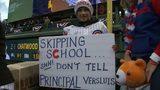 VIDEO: Kids skip school, see principal at baseball game
