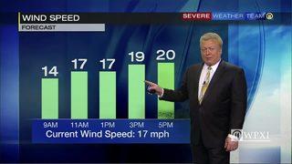 Wind speed forecast for Thursday (4/19/18)