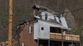 RAW VIDEO: Home below Route 30 is demolished