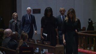 RAW VIDEO: Presidents at Barbara Bush funeral