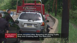 Driver speeds away from traffic stop, crashes short time later, police say