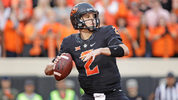 STILLWATER, OK - NOVEMBER 04: Quarterback Mason Rudolph #2 of the Oklahoma State Cowboys looks to throw against the Oklahoma Sooners at Boone Pickens Stadium on November 4, 2017 in Stillwater, Oklahoma.  (Photo by Brett Deering/Getty Images)