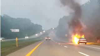 Flames shoot from car on I-79
