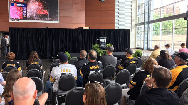7f3f36815 Steelers press conference. (Photo by Alby Oxenreiter WPXI). Juju Smith-Schuster  models the Steelers  throwback uniform for the 2018-19 season.