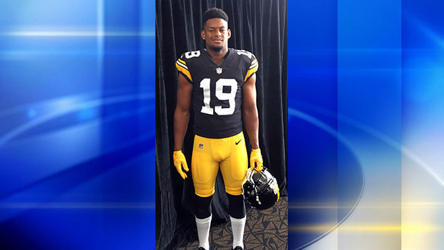 87dda4602 Juju Smith-Schuster models the Steelers  throwback uniform for the 2018-19  season. (Photo by Alby Oxenreiter WPXI)