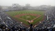 CHICAGO, IL - JUNE 10: Fog envelops Wrigley Field in the fourth inning of a game between the Chicago Cubs and the Pittsburgh Pirates on June 10, 2018 in Chicago, Illinois. (Photo by David Banks/Getty Images)