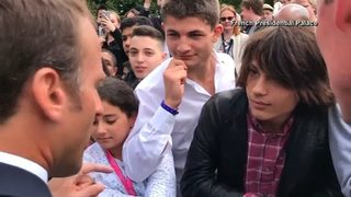 RAW VIDEO: French president scolds teenager