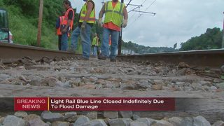 Light blue rail line closed indefinitely due to flood damage
