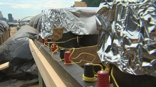 Fireworks on barge, set to illuminate Pittsburgh skyline for July 4th