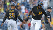 PITTSBURGH, PA - JULY 09: Gregory Polanco #25 of the Pittsburgh Pirates rounds third after hitting a two run home run in the second inning against the Washington Nationals at PNC Park on July 9, 2018 in Pittsburgh, Pennsylvania.