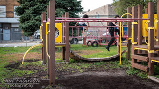 Police officer proves that no one can resist a playground obstacle course