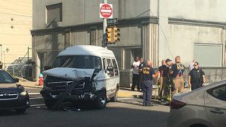 Several taken to hospital after PAT bus, van collide