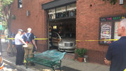 A car crashed through the front of a Shadyside business.