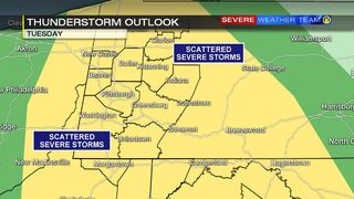 Seasonal temperatures ahead of potential for severe storms