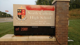 North Catholic HS sign vandalized amid pressure to remove Cardinal Wuerl