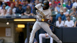 MILWAUKEE, WI - SEPTEMBER 16: Josh Bell #55 of the Pittsburgh Pirates flies out in the first inning against the Milwaukee Brewers at Miller Park on September 16, 2018 in Milwaukee, Wisconsin. (Photo by Dylan Buell/Getty Images)