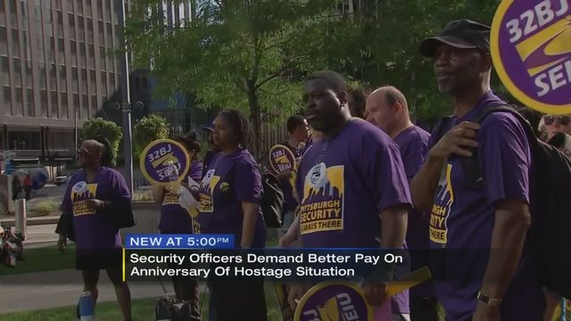 Pittsburgh security officers rally for higher wages