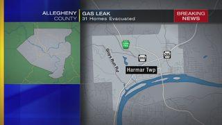 31 homes evacuated for gas leak near Harmar