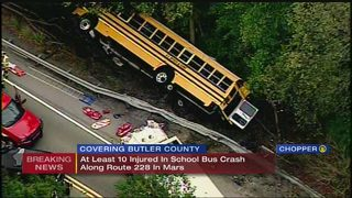 Multiple injuries after school bus goes over embankment in Mars (3:40 pm update)