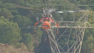 Massive helicopter used to rebuild transmission tower damaged by gas explosion