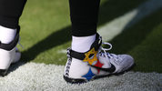 BALTIMORE, MD - NOVEMBER 04: Quarterback Ben Roethlisberger #7 of the Pittsburgh Steelers wears cleats in response to last months mass shooting in Pittsburgh prior to the game against the Baltimore Ravens at M