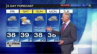 Snow showers ending early Friday