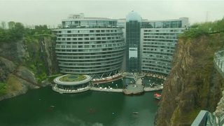 VIDEO: Hotel made in rock quarry