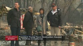 President Trump surveys destruction caused by California wildfires