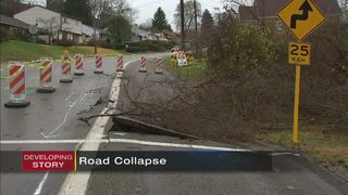 Partial collapse forcing restrictions on local road