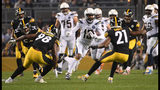 PITTSBURGH, PA - DECEMBER 02: Keenan Allen #13 of the Los Angeles Chargers runs upfield after a catch in the first quarter during the game against the Pittsburgh Steelers at Heinz Field on December 2. (Photo by Justin Berl/Getty Images)