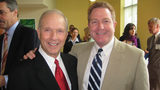 With an uncommon confidence, a deep knowledge of sports, and a booming voice that could take over any room, Sam Nover made his mark like few others in local broadcasting. (Pictured with Channel 11 Sports Director Alby Oxenreiter.)