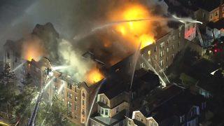 Nearly 200 firefighters battle massive blaze at Philadelphia apartment building