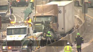 Turnpike reopens after tractor-trailers crash, spill 300 gallons of fuel