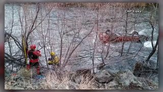 Man survives five hours in submerged car after crashing in river