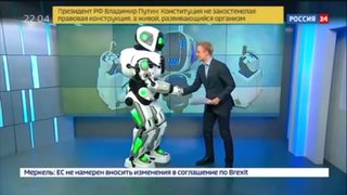 VIDEO: Russian TV calls man in costume high-tech robot