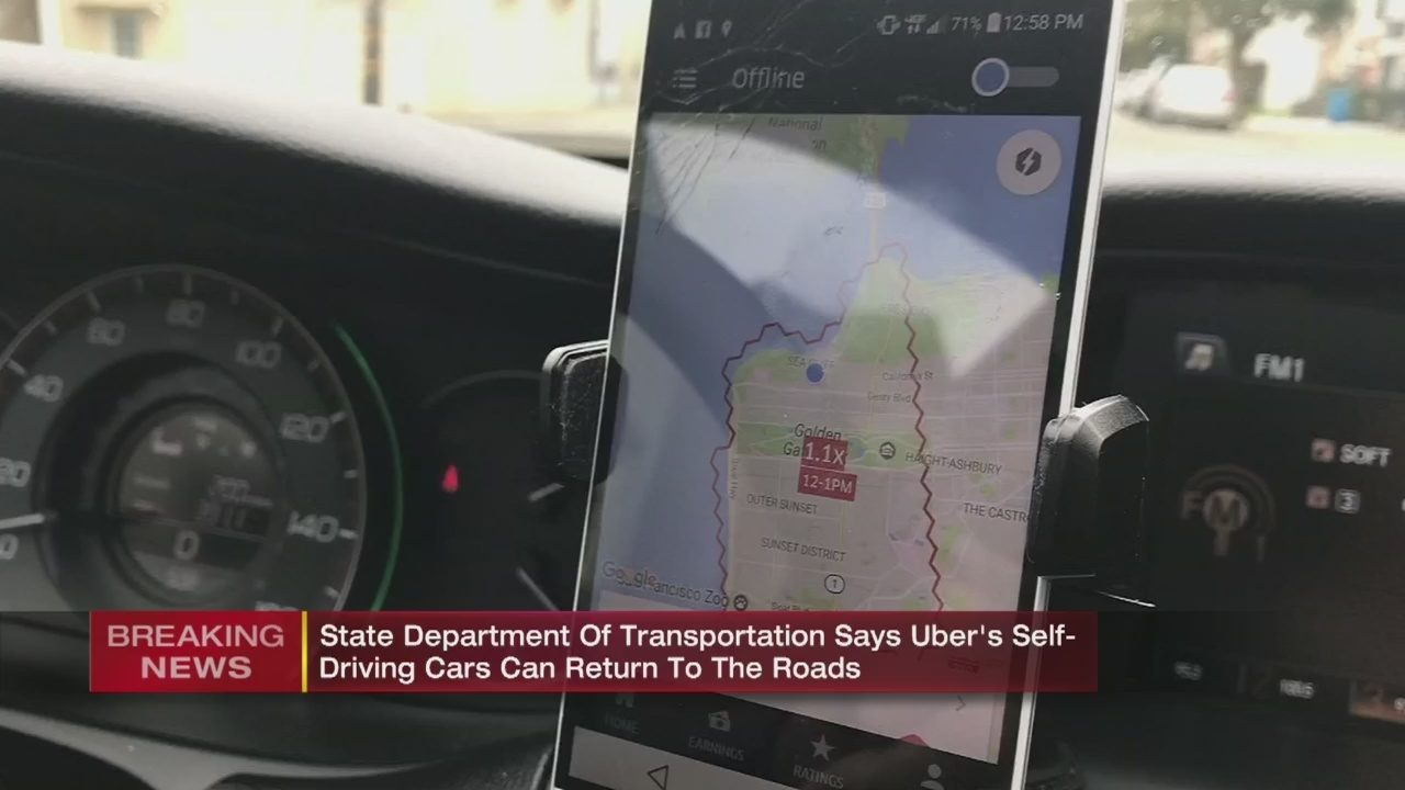 UBER SELF DRIVING CARS: Uber approved to resume autonomous