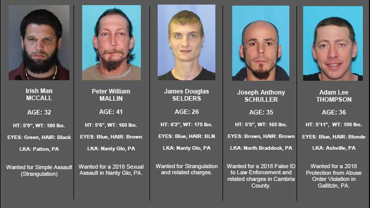 Troopers searching for 5 most wanted fugitives in Cambria