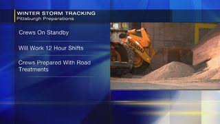 Pittsburgh road crews on standby for mix from rain to snow