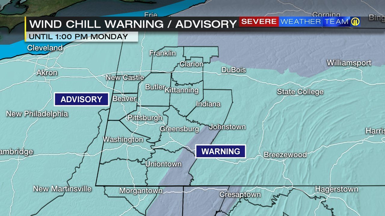 PITTSBURGH WEATHER: LIVE UPDATES: Wind Chill Advisory in